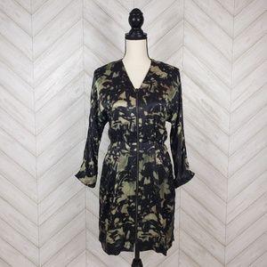 THEORY Green Black Marbled Silk Zip Up Dress